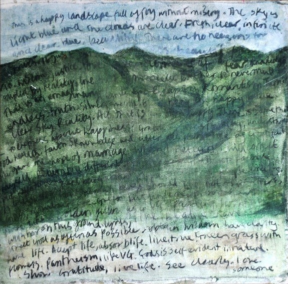 Words on Tuscan Landscape, 2000 Oil on Canvas 58.5 X 58.5 Cm